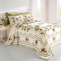 Samantha Oversized Chenille Bedspread, IVORY GREEN