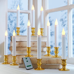 Set of 10 Taper LED Candles with Remote, WHITE GOLD