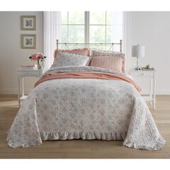 3-Pc. Printed Ruffle Bedspread Set, WHITE MULTI