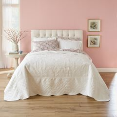 Lily Damask Embossed Bedspread, WHITE
