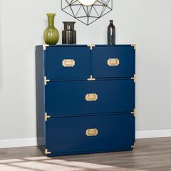 Campaign Blue 4-Drawer Accent Chest, NAVY