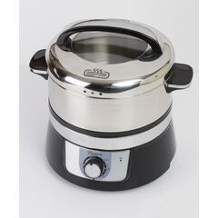 Euro Cuisine Stainless Steel Electric Food Steamer, WHITE AND STAINLESS