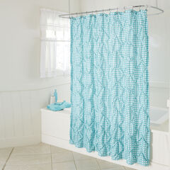 Lucy Gingham Shower Curtain, TURQUOISE