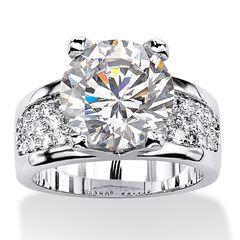 Platinum-Plated Round Engagement Ring Cubic Zirconia (7 cttw TDW),