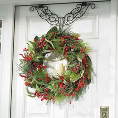 Pre-Lit Winterberry Holiday Wreath,
