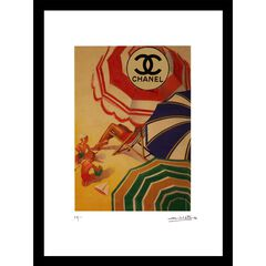 Vintage Chanel Beach Umbrellas 14x18 Framed Print, MULTI