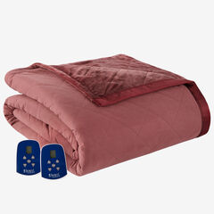 Micro Flannel® Reverse to Ultra Velvet® Electric Blanket, MERLOT