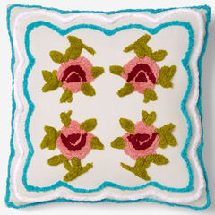 """Samantha Chenille 18""""Sq. Pillow, IVORY TURQUOISE"""