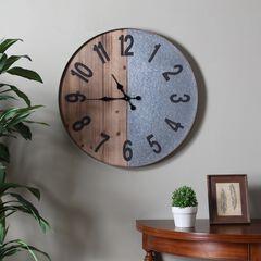 Gallen Industrial Wall Clock, WOOD