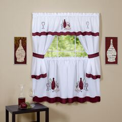Cabernet Embellished Cottage Window Curtain Set, BURGUNDY