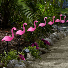 Flamingo Solar Stake Lights, Set of 10, MULTI