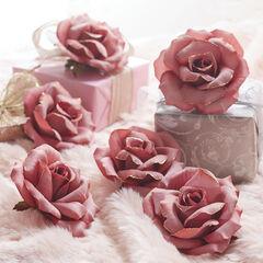 Mauve Rose Clips, Set of 6, MAUVE