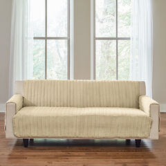 Reversible Plush Stripe Extra-Long Sofa Protector, GOLDEN TAN