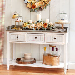 3-Drawer Console Table, RUSTIC WHITE