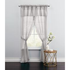 BH Studio Sheer Voile 5-Pc. One-Rod Curtain Set, SILVER