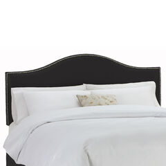 "King Size Upholstered Curved Top Nail Button Border Headboard, 78""Lx4""Wx51""H, BLACK"