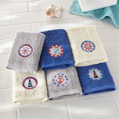 Embroidered 6-Pc. Washcloth Set, NAUTICAL