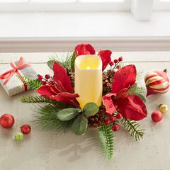 """Amaryllis 12"""" Candle Ring with LED Candle, RED"""