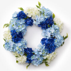 Blue Hydrangea Wreath, BLUE WHITE