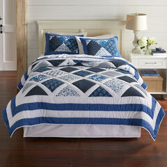Ginger Patchwork Quilt, BLUE WHITE