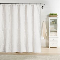 Raphaela European Matelassé Shower Curtain, WHITE