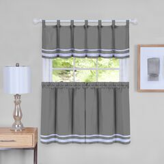 Dakota Window Curtain Tier Pair and Valance Set, GREY