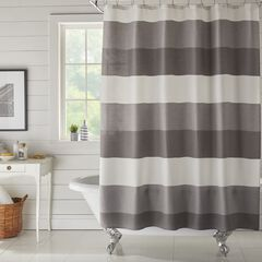 BH Studio Colorblock Waffle Shower Curtain, CHARCOAL
