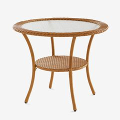 Roma All-Weather Resin Wicker Bistro Table, NATURAL
