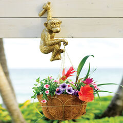 Hand-Painted Hanging Monkey Planter,