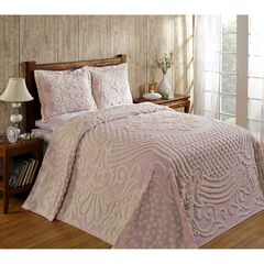 Florence Collection Tufted Chenille Bedspread by Better Trends, PINK