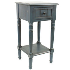 Simplify One Drawer Square Accent Table, ANTIQUE NAVY