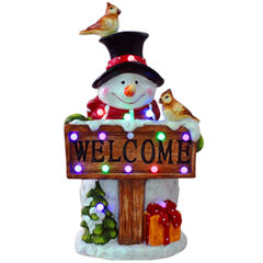 Musical Snowman Welcome Sign, WHITE