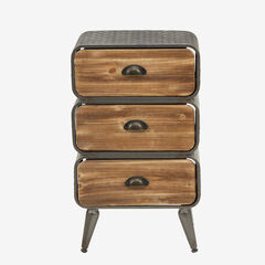 Urban Loft 3 Rounded Drawer Chest, NATURAL WOOD