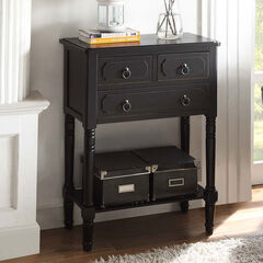3 Drawer Chest with Open Shelf, BLACK