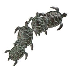 Sea Turtle Metal Wall Art, GREEN BLACK