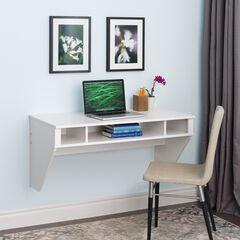 Designer Floating Desk, White, WHITE