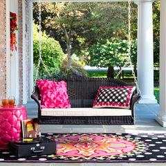 Roma Resin Wicker Porch Swing, BLACK