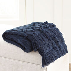Cable Knit Tassel Throw, NAVY