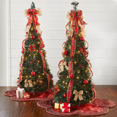 Fully Decorated Pre-Lit 4½' Pop-Up Christmas Tree, PLAID