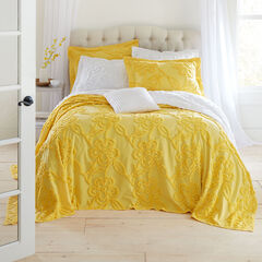 Flora Chenille Bedspread, YELLOW