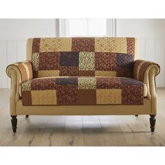 Printed Faux Patchwork Loveseat Protector, BROWN GOLD