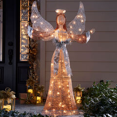 "58""H LED Glitter Angel,"