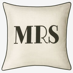 "Embroidered Applique ""Mrs"" Decorative Pillow, OYSTER BLACK"