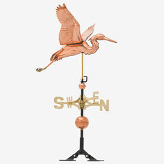 Copper Heron Weathervane, POLISHED