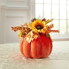 """12"""" Harvest Wheat Velvet Pumpkin Centerpiece, ORANGE"""