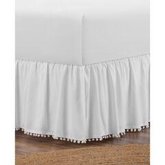 """Belles & Whistles Pom Pom Trim 15"""" Drop Bed Skirt, WHITE"""