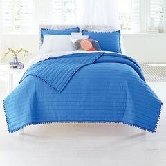 Eloise Pom Pom Quilt, COBALT BLUE
