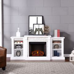 Gallatin Simulated Stone Electric Fireplace with Bookcases, WHITE