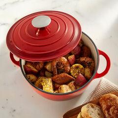 2.8-Qt. Cast Iron Casserole Dish, RED