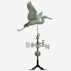 Copper Heron Weathervane, VERDIGRIS